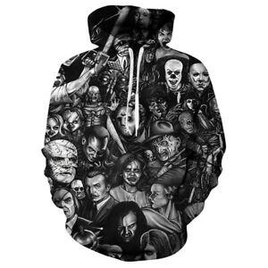 Men/Women Halloween Skull Skeleton 3D Print Hoodie Sweatshirt Pullover Top Ku