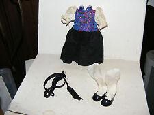 Altes Original-Schildkröt-Kleid-Schuhe-Strümpfe-Tracht  für Puppe Gr. 25 cm