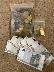 135.76 € coins large euro coin lot currency circulated travel cash 1 5 10 20 50