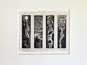 MATTED SET 4 Original Woodcut Prints Day in Nature Collection Hikers Tree Hugger