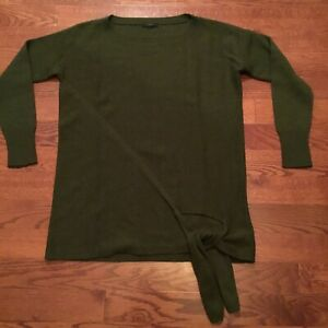 J.Crew Women's Tie Waist Boatneck Sweater Heather Olive Green Size Tag Missing L