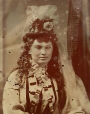 ANTIQUE VINTAGE AMERICAN VICTORIAN DRESS FASHION BRIDE? HAIRSTYLE TINTYPE PHOTO