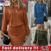 Women's Sexy Off Shoulder Mini Bodycon Dress Ladies Party Clubwear Dresses Size