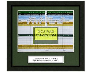 11x10 Black Golf Scorecard Frame, blk-001, Green Mat; Holds approx 6x8 card
