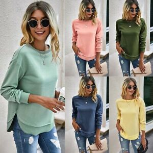 Womens Plain Long Sleeve Sweatshirt Tops Ladies Patchwork Casual Pullover Jumper