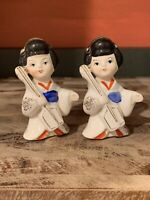 VINTAGE GEISHA GIRL PORCELAIN FIGURINES ORIENTAL ASIAN JAPANESE SET OF 2 JAPAN