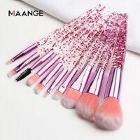 10pcs Glitter Crystal Makeup Brushes Powder Eyeshadow Colorful Beauty Brush Set