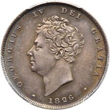 ENGLAND GEORGE IV 1826  1 SHILLING SILVER COIN UNCIRCULATED PCGS CERTIFIED MS-65