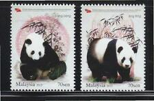 MALAYSIA 2015 GIANT PANDA CONSERVATION PROJECT COMP. SET OF 2 STAMPS IN MINT MNH