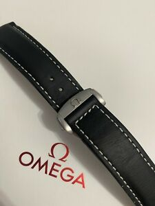 Omega 20MM Black Watch Strap 98000443 & Brushed Deployant Clasp 94521813