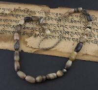 Ancien collier Perle Dzi Agate naturelle Chamane Tibetain Himalaya Nepal 26697