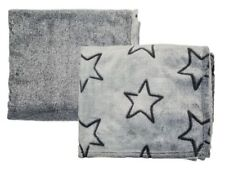 Kuscheldecke grau mit Sternen, 130x160 cm, Tagesdecke, Wohndecke, Wohlfühldecke