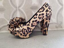 Womens Rocketdog high heel shoes in satin leopard print size 5 new.