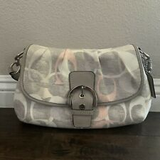 NWOT Coach Linen Flap Signature Coated Fabric Leather Hand Bag Retail $348