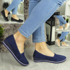 Ladies Loafer Trainers Womens Low Wedge Slip On Pumps Comfy Casual Shoes Size