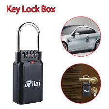 Riiai 4 Digit Key Lock Box Safe Security Lock Padlock-Door Handle Protable Black