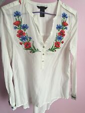 Embroidery Blouse Top Shirt Ukrainian Style Handmade White Size Xs New