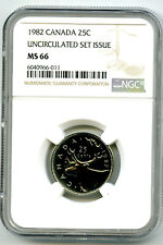 1982 CANADA 25 CENT NGC MS66 CARIBOU QUARTER UNCIRCULATED SET ISSUE POP=3