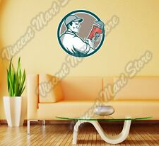 """Plumbing Plumber Pipe Monkey Wrench Wall Sticker Room Interior Decor 22"""""""