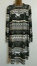 NEW Size 16-22 Geometric Paisley Print Green Black White Tunic Dress Top