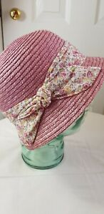 M&S Per Una Pink Straw Cloche Hat  with Floral Tie - S/M - Excellent Condition