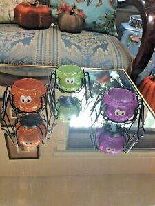 S/3 Glittery Spider Tea Light Candle Holders~Glass & Metal~Purple, Orange, Green