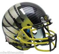 OREGON DUCKS CARBON FIBER CHROME WINGS & YELLOW FADE SCHUTT MINI FOOTBALL HELMET