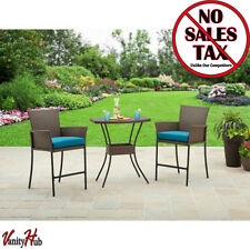 Wicker 3 Piece Outdoor Bistro Set Bar Height High Table And Garden Chairs Patio