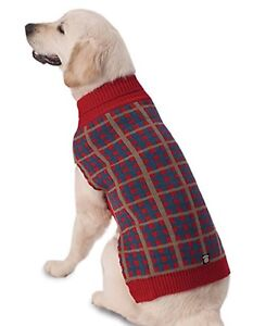"""NEW Size X-Large """"Toby's"""" Red Tan Blue Plaid Striped Turtleneck Dog Sweater"""