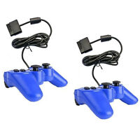 2 New Wired Video Game Controller for Sony Playstation2 PS2 Gamepad Blue by ECS