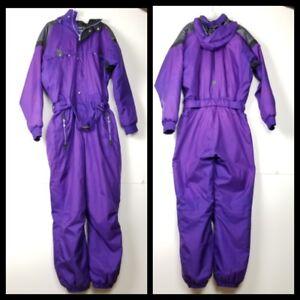 Vtg Sunvalley Snowmobile Suit Pants Purple Unisex XL Zip Up Pocket Elastic Waist