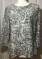 Coldwater Creek Women's Textured Knit Top in Black White Geometric Print, M