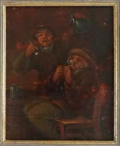 ANTIQUE LATE 18TH EARLY 19TH CENTURY OIL ON WOOD OF A DUTCH TAVERN SCENE