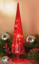 MERCURY GLASS LIGHTED CHRISTMAS TREE 'RED' SPARKLES DECORATION ORNAMENT NIB