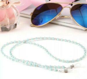 Blue beads cord chain lace lanyard strap eye-wear sun mag eyeglasses reading opt