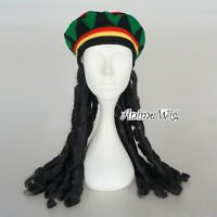 Fancy Jamaica Hat Black Curly Roll Hair Women Straight Cosplay Party Wig