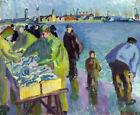 Framed canvas art giclee print The fish market
