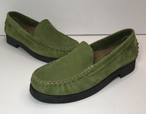 Azaleia Green Suede Leather Driving Loafers Womens Shoes Size 9 Eur 39.5
