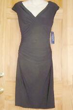 Ralph Lauren Chaps Black Jersey Shirred Surplice-Neckline Cap-Sleeve Dress M