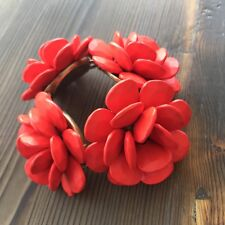 New Limited Edition J.Crew Flower Bracelet Red-Orange One Size with Bronze Clasp