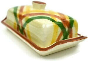 Vintage VernonWare HomeSpun Vernon Kilns Butter Dish Plaid Yellow Orange Green