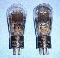 2 RARE RCA UX-245 aka 45 Globe Style Vacuum Tubes - 1930's Vintage Audio Triodes