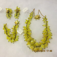 VINTAGE MIRIAM HASKELL SIGNED LEMON DROP FULL PARURE NECKLACE EARRINGS BRACELET