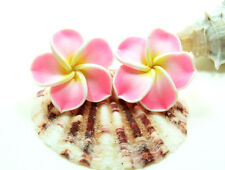 Pink Hawaiian Plumeria Flower Handcrafted Fashion Fimo Polymer Clay Stud Earring
