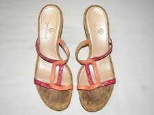 "Cole Haan 8.5 B Wedge High Heels 4"" Pink Mauve Strappy Sandals Ladies Shoes 8.5B"