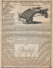 Patent Granted for Harvesting Machine - 1852