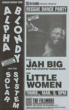 ALPHA BLONDY debut JAH BIG & LITTLE WOMEN 1988 rare FILLMORE new era's 1st show!
