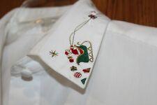 Foxcroft Blouse Shirt Sz 6 Christmas Santa Sleigh Reindeer collar Tree Buttons