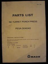 Amada Pega 305050 Parts List Nc Turret Punch Press Parts List Manual 1981