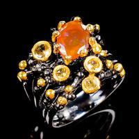 Orange Opal Ring Silver 925 Sterling Beauty Rainbow7x5mm Size 7.75 /RR17-2104-2